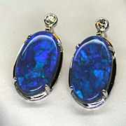 18K White Gold Solid Opal Earrings with Diamond Accents