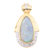 Ladies Large Australian Solid 18+ Carat Opal Pendant/Enhanced with Diamonds