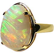 "Ladies ""Opalized Wood"" Australian Solid 10.78 Carat Opal 18K Yellow Gold Ring"