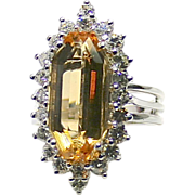 Estate Ladies 7.42 Carat Imperial Topaz 14K White Gold Ring Accented with Diamonds