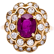 Estate Ladies 1.92 Carat Natural Ruby 14K Yellow Gold Ring Encircled by Diamonds