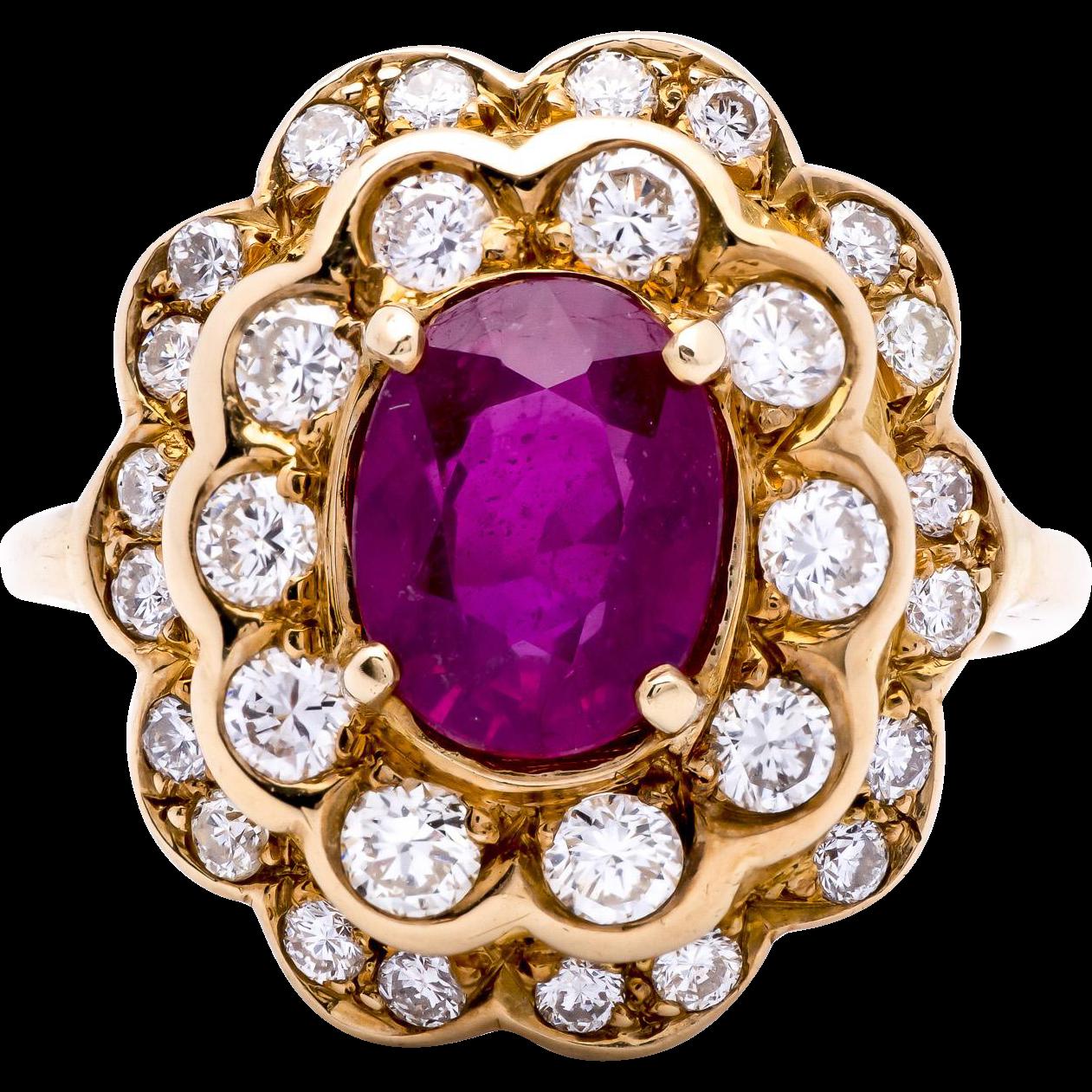 Estate Ladies 1.92 Carat Natural Ruby 14K Yellow Gold Ring Encircled by Diamonds