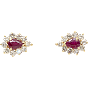 Estate Ladies Natural Ruby and Diamond 14K Yellow Gold Earrings