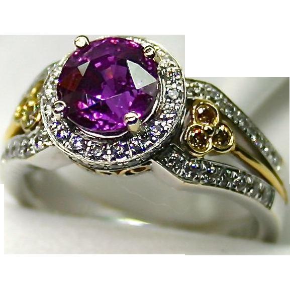 Ladies 2.63 Carat Pink Sapphire 18K White/Yellow Gold Ring with White & Yellow Diamonds