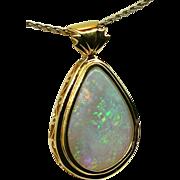 Ladies Australian 14.42 Carat Solid Opal Handcrafted 18K Yellow Gold Pendant