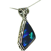 Ladies Lightning Ridge 5.72 Carat Opal 18K White Gold Pendant with Diamond Accent