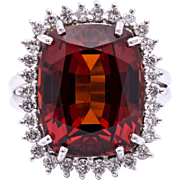 Fit For A Queen 12.85 Carat Malaya Garnet 18K White Gold Ring outlined by Diamonds