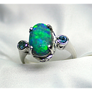 Ladies 2.61 Carat Lightning Ridge Opal 18K White Gold Ring with Blue Diamond Accents