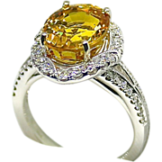Ladies 6.81 Carat Yellow Sapphire 18K White Gold Ring with Diamond Halo
