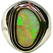Men's Solid 4.58 Carat Opal Ring set in Sterling Silver and 18K Yellow Gold