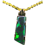 Unique 10.52 Carat Australian Opal 18K Yellow Gold Pendant