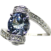 "Estate Ladies Natural Blue ""No Heat"" Sapphire 18K White Gold Ring adorned with Diamonds"