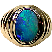 Newly released Ladies 18K Yellow Gold Ring with 2.65 Carat Solid Australian Opal