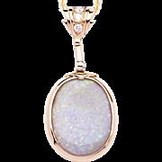 Ladies Unique Australian Opal 18K Yellow Gold Pendant accented with Diamonds