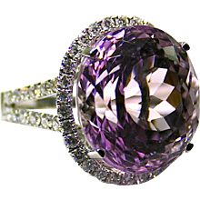 Ladies 21.77 Carat Kunzite 18K White Gold Ring accented with Diamonds