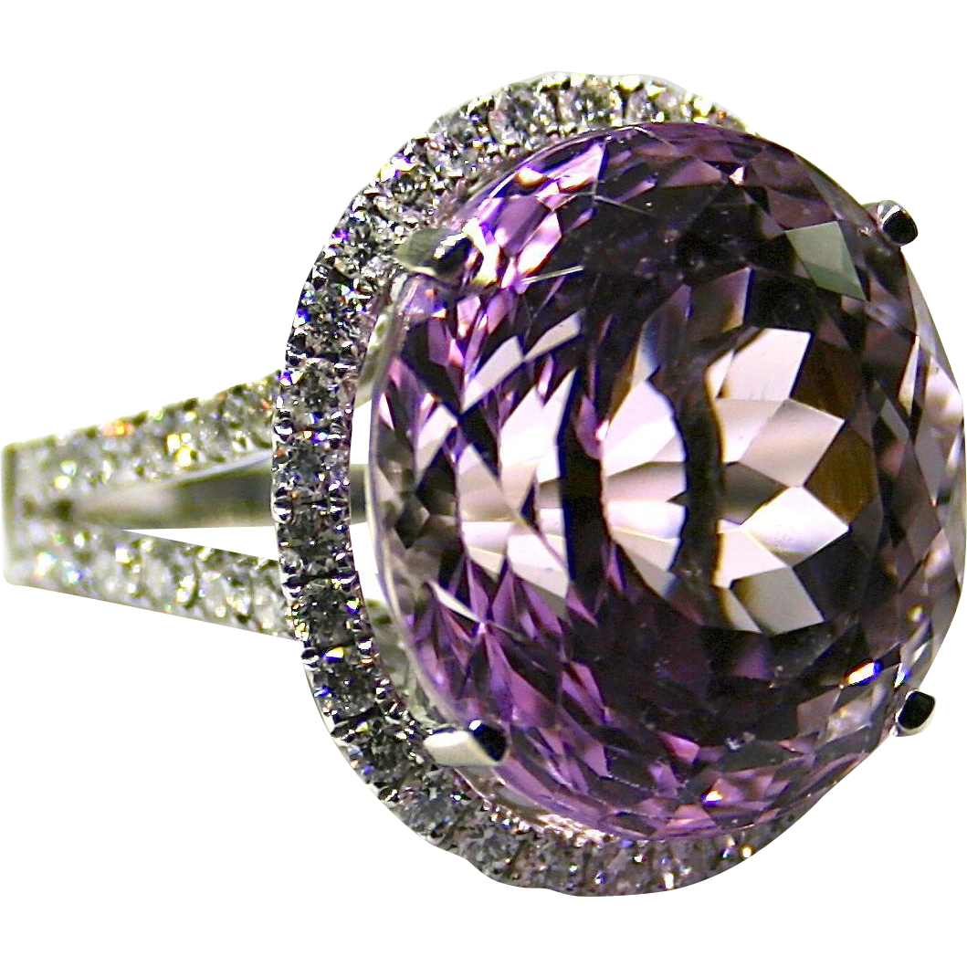 Ladies 21.77 Carat Kunzite 18K White Gold Ring accented with Diamonds