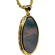 Ladies 14.51 Carat Solid Sunset Picture Opal 18K Yellow Gold Pendant
