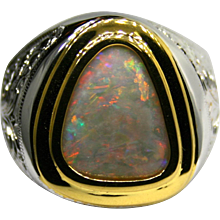 Mens Sterling Silver & 18K Yellow Gold Ring featuring a Solid 3.32 Carat Opal