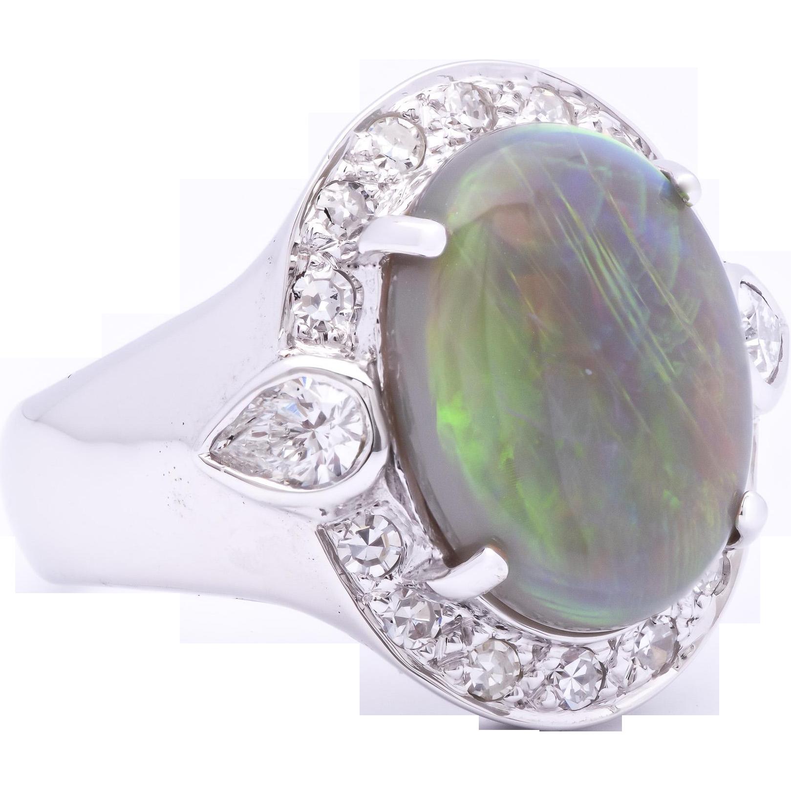 australian 3 86 carat opal 18k white gold ring