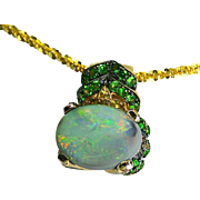 Ladies Estate Opal 14K Gold Pendant/Slide with Tsavorite Garnets, Citrines and Diamonds