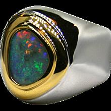 Mens Australian 3.40 Carat Opal in Sterling Silver/18K Yellow Gold Ring