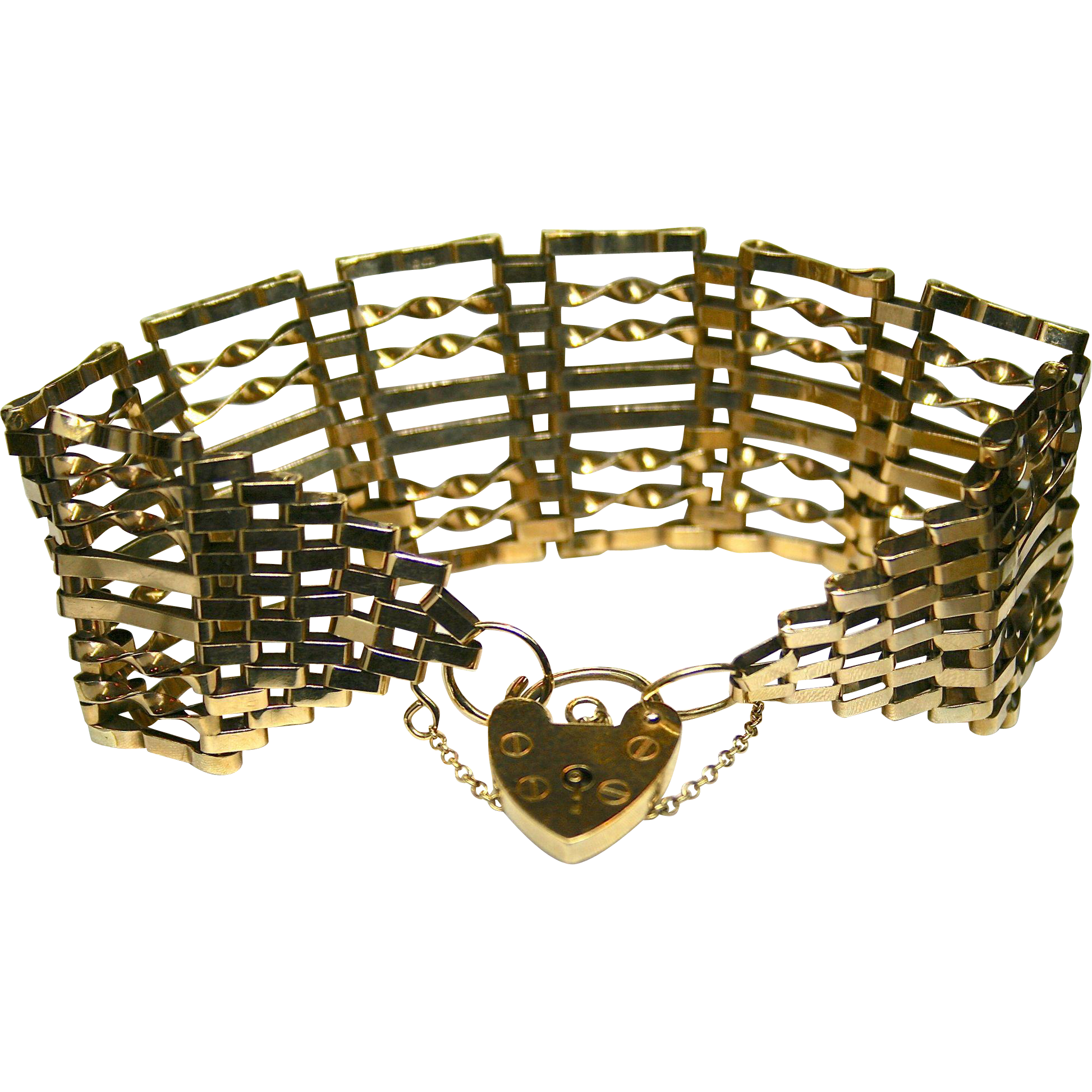 Ladies 9K Yellow Gold Vintage Bracelet with Heart Lock