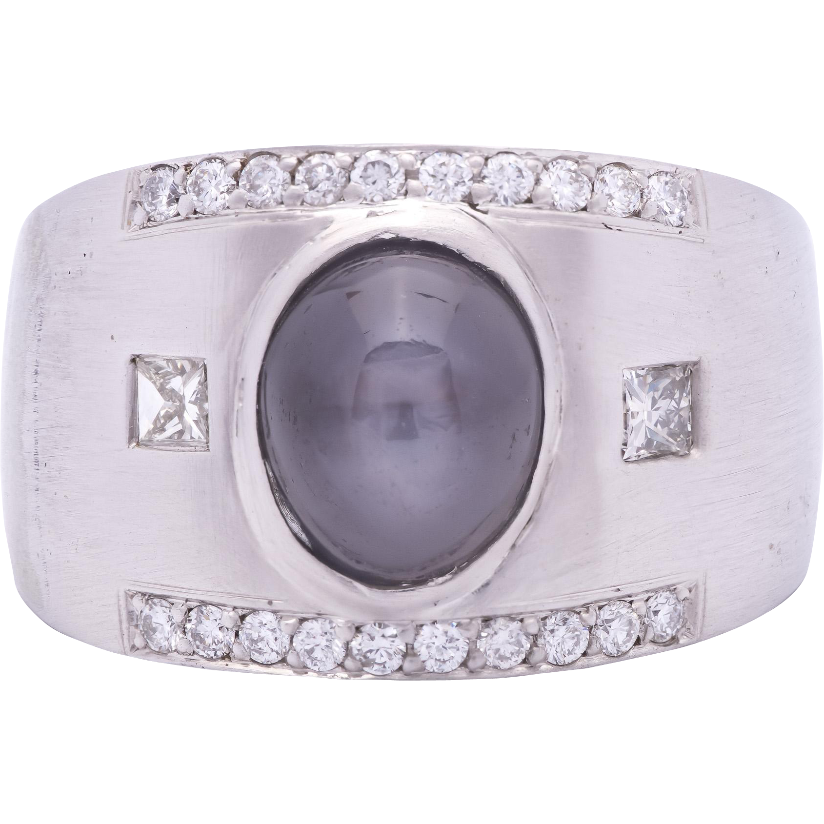 Men's 14K White Gold Ring with Natural Star Sapphire accented with Diamonds