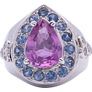 "Fit For A Princess 3.20 Carat ""No Heat"" Pink Sapphire 18K White Gold Ring with Diamond and Blue Sapphire Accents"