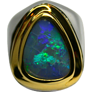 Men's Solid Australian 5.05 Carat Opal Ring in Sterling Silver and 18K Yellow Gold