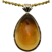 Ladies Large Amber Pendant set in 18K Yellow Gold