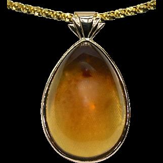 Ladies Large Amber Pendant set in 18K Yellow Gold