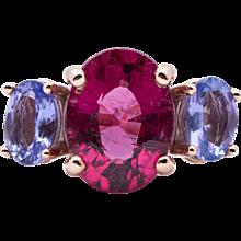Ladies 3.65 Carat Natural Rubellite Tourmaline 14K Rose Gold Ring with Tanzanites