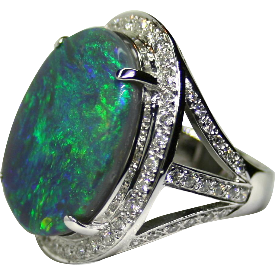 Ladies Solid 16.04 Carat Australian Opal 18K White Gold Ring with Diamond Accents