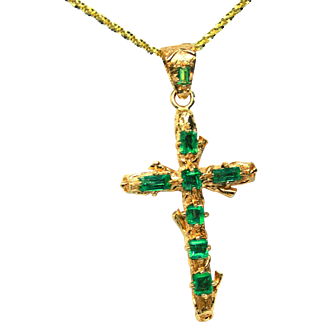 18K Yellow Gold Cross Pendant adorned with Emeralds