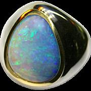 Men's Australian 13.99 Carat Solid Opal Ring in Sterling Silver/18K Yellow Gold