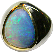 Men's Australian 13.99 Carat Solid Opal Ring in Sterling Silver/18K Yellow Gold
