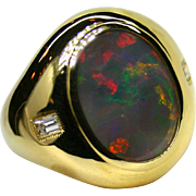Men's Lightning Ridge 8.67 Carat Opal 18K Yellow Gold Ring with Diamond Accents