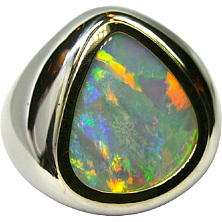 Men's Solid 7.95 Carat Australian Opal Ring set in Sterling Silver and 18K Yellow Gold