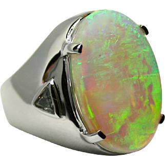 Ladies 6.84 Carat Solid Opal 18K White Gold Ring with Diamond Accents