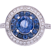 Estate 18 Karat Blue Sapphire and Diamond Ring