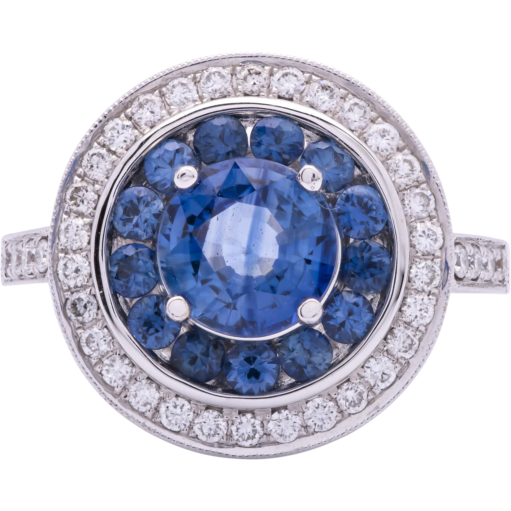 Estate 18 Karat Blue Sapphire And Diamond Ring From