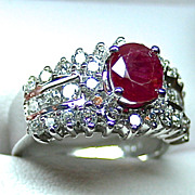Ladies Ruby 14K White Gold Ring with Diamond Accents