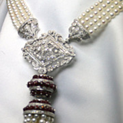 Ruby, Diamond, Cultured Pearl and 18K White Gold Neckpiece With Tassel