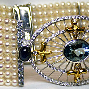 Cuff Bracelet with Cultured Pearls, Aquamarine, Sapphires, Diamonds