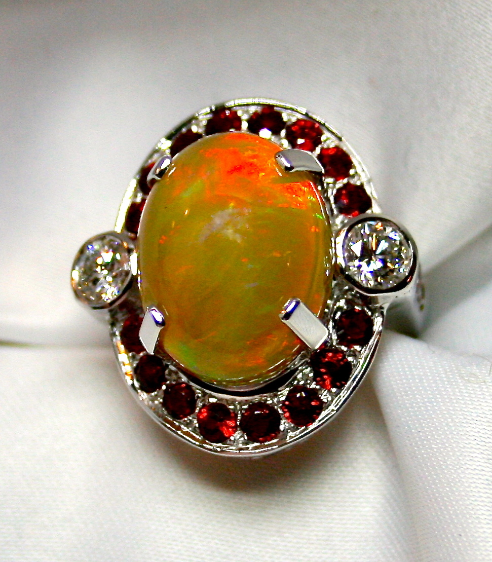solid opal 18k white gold ring surrounded