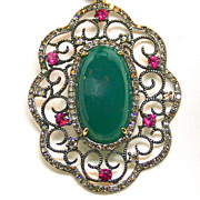 Ladies Vintage Nephrite Jade Pendant accented with Sapphires and Diamonds