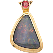 Australian Multi Color Opal 18K Yellow Gold Pendant with Sapphire Accent