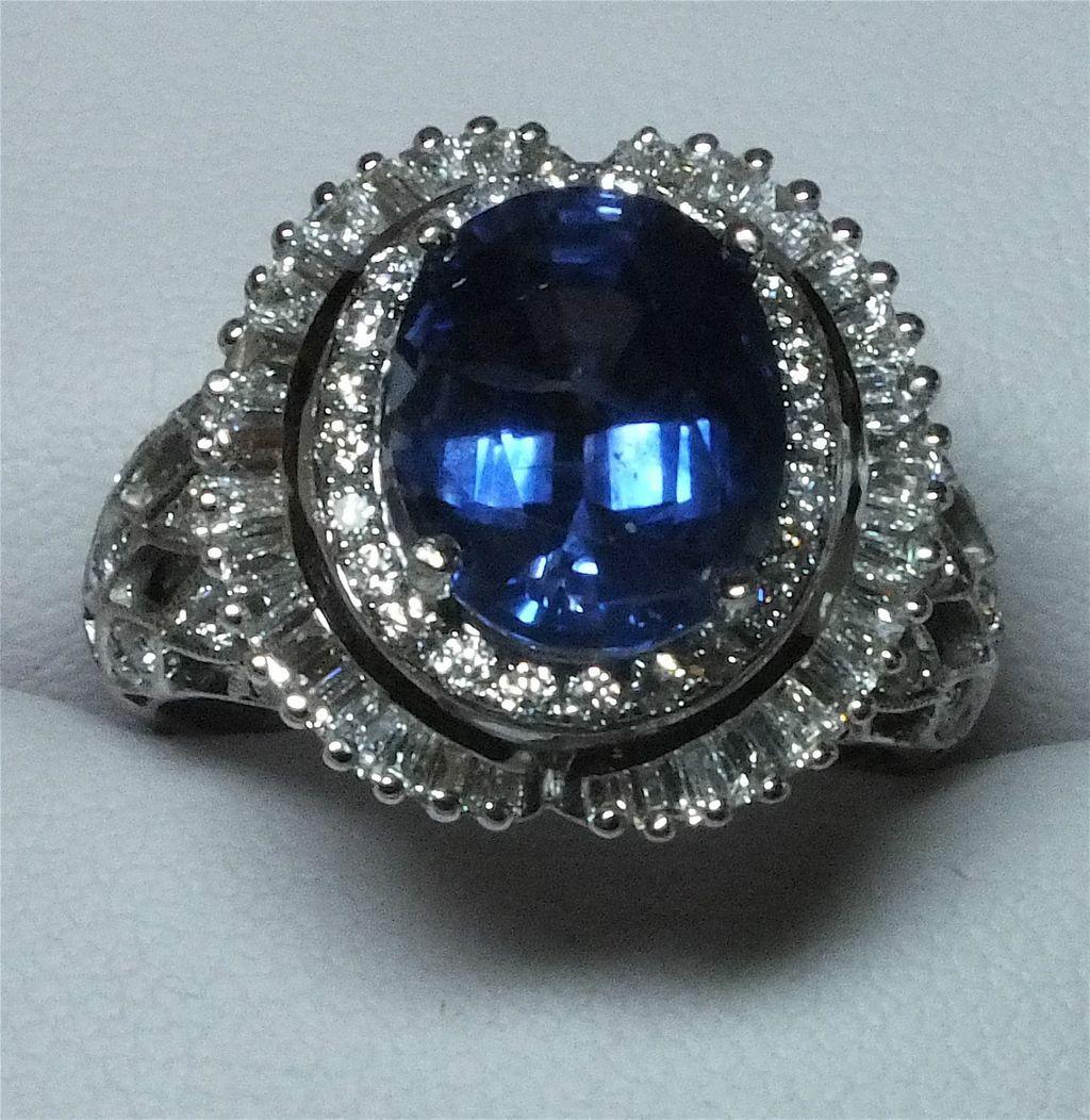 Stunning 18k White Gold 5.24 Carat Ceylon Sapphire and Diamond Ring