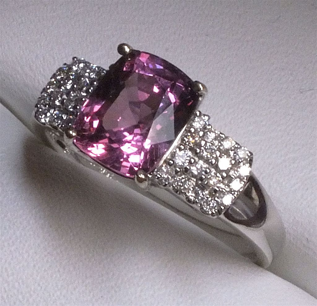 Amazing 18 Karat White Gold Burma Pink Spinel Diamond Ring From