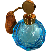 Blue Cut Glass Perfume Bottle